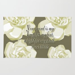Scripture Gray,White Rose Rug