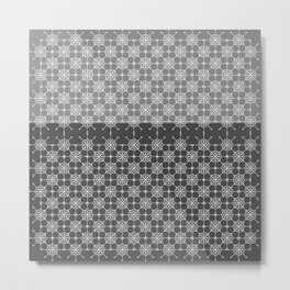 Portuguese Tiles of Lisboa in Grey with Glitch Metal Print