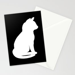 Silhouette sitting cat white, cute cat Stationery Cards