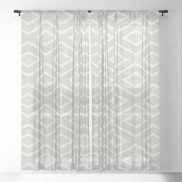 Stitch Diamond Tribal Print in Grey Sheer Curtain