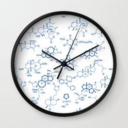 Blue Molecules Wall Clock