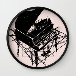 Piano in pink Wall Clock