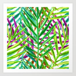 Rainbow Watercolor Palm Leaves in White Art Print
