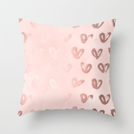 rosegold hearts on pink throw pillow