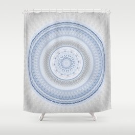Elegant Blue Silver China Inspired Mandala Shower Curtain