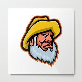 Old Fisherman or Fisher Mascot Metal Print