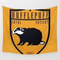 hufflepuff Wall Tapestries featuring Hufflepuff Crest by machmigo