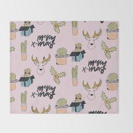 Christmas Cactus Throw Blanket