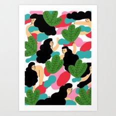 Girl Pattern Leaf Art Print