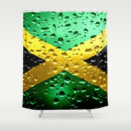 Flag of Jamaica - Raindrops Shower Curtain
