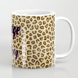 Trendy brown cheetah animal print black pink typography Coffee Mug
