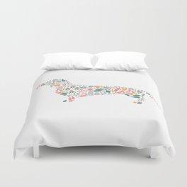 Dachshund Floral Watercolor Art Duvet Cover