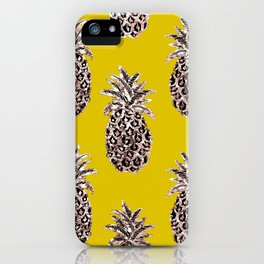 Gold Pineapples on mustard iPhone Case