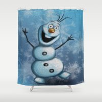 olaf Shower Curtains featuring Olaf by MandiMccl
