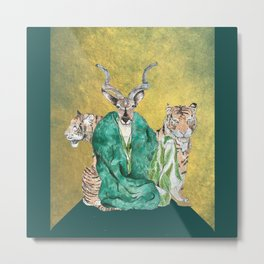 Eleanor Kudu and Tigers on Gold Flag Print Metal Print