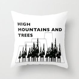 High Mountains and Trees Throw Pillow