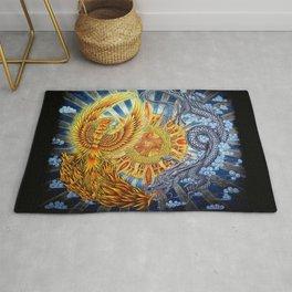 Chinese Phoenix and Dragon Mandala Rug