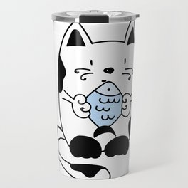 Cat with a fish Travel Mug