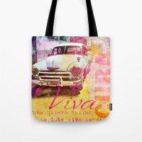 cuba Tote Bags featuring Viva Cuba by LebensART