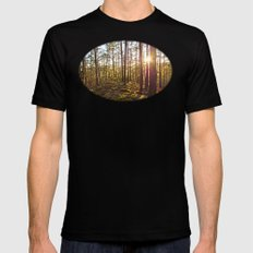 Evening in the forest Mens Fitted Tee Black MEDIUM