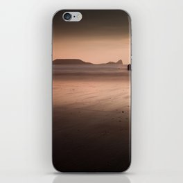 Sunset and wet sand at Worms Head, Gower, Wales iPhone Skin