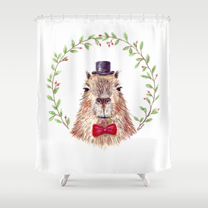 "Watercolor painting ""Sir Capybara"" Shower Curtain"
