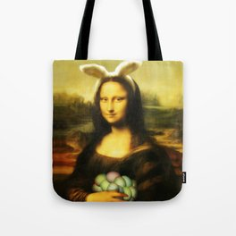 Easter Mona Lisa with Bunny Ears and Colored Eggs Tote Bag