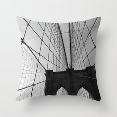Brooklyn Bridge Black and White Throw Pillow