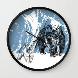 Bears family print Wall Clock