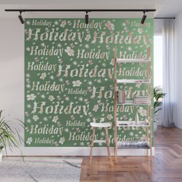 shiny font happy holidays in green rose Wall Mural
