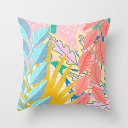 Modern Jungle Plants - Bright Pastels Throw Pillow