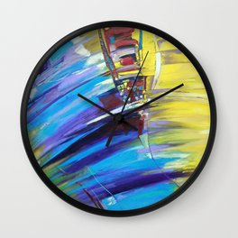 Abstraction in blue & yellow Wall Clock