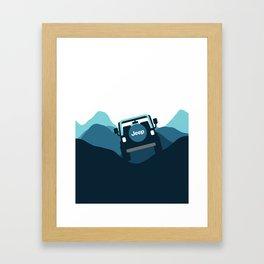 Jeep 'Driving' Blue Mountain Framed Art Print