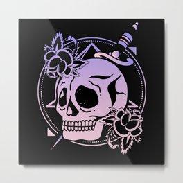 Nu Goth Skull Rose Japanese Witchcraft Satanism Metal Print