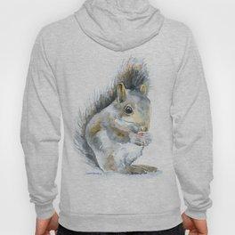 Gray Squirrel Watercolor Painting Hoody