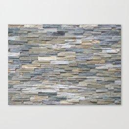 Gray Slate Stone Brick Texture Faux Wall Canvas Print