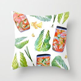 Kimchi Ingredients Spicy Fun Watercolor  Throw Pillow