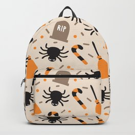 Happy halloween brooms, graves, spiders and sweets pattern Backpack