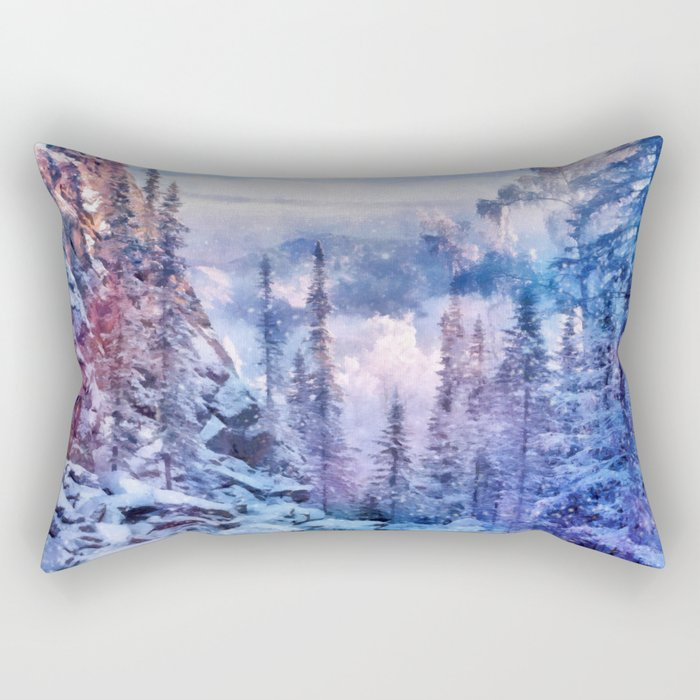 Winter forest in the mountains II Rectangular Pillow
