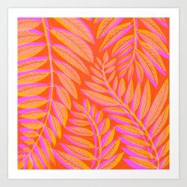 Hot Tropics - Orange Pink Tropical Vines Art Print
