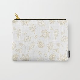 Autumn foliage pattern with gold leaves, acorns Carry-All Pouch