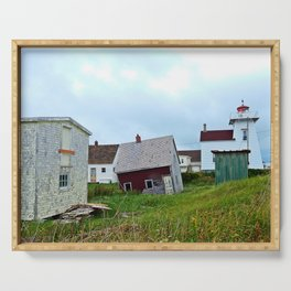 Lighthouse and shacks in North-Rustico PEI Serving Tray