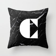 Black Marble - Alphabet C Throw Pillow