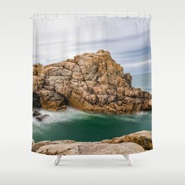 Rock formation against sky in the coast Shower Curtain