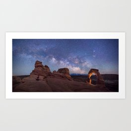 Delicate Arch Under the Starry Sky in Arches National Park Panorama Art Print