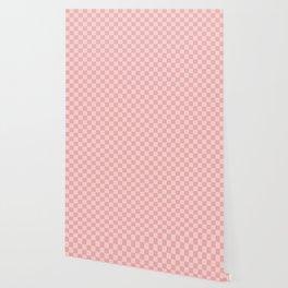 Large Lush Blush Pink Checkerboard Squares Wallpaper