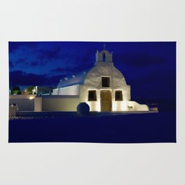 Santorini Chapel During Sunrise  Rug
