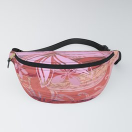 Polynesian Coral Hint Of Tribal Grunge Fanny Pack