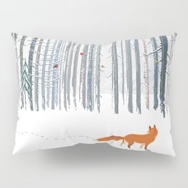 Fox in the white snow winter forest illustration Pillow Sham