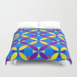 Geometric Floral Circles Vibrant Color Challenge In Bold Red Yellow Purple & Blue Duvet Cover